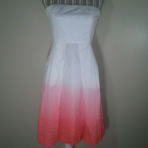 J. Crew white coral hombre strapless dress size 4